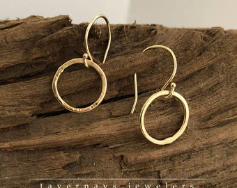 14k Solid Gold, Hand Formed and Hammered Matte or Shiny Gold Circle Earrings- Tavernays