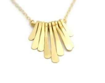 Minimalist Necklace, Fringe Necklace, Fringe Necklace Gold, Boho Chic Style, Dainty Necklace