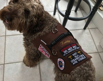 Your Custom Made Duck Cloth over Air Mesh Service Dog Vest. I will sew on the patches that you send me, embroider the dog's name