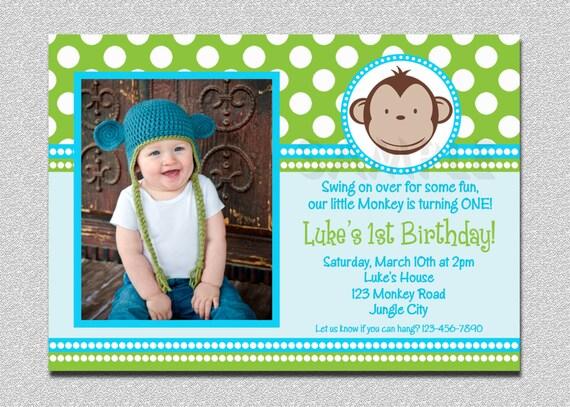 Mod monkey birthday invitation 1st birthday polka dot birthday like this item stopboris Image collections