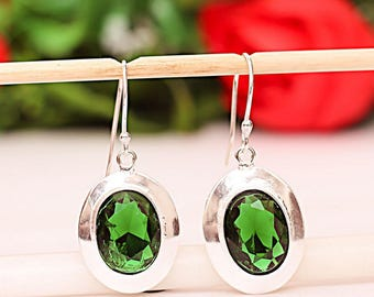 Earrings in 925 sterling silver and chrome diopside green mark - after the beach