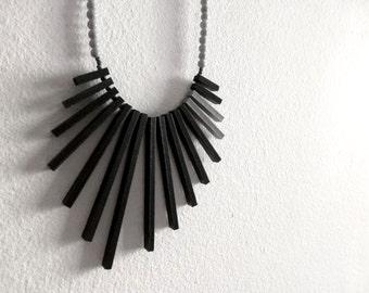 black & grey geometric necklace , contemporary tribal jewelry