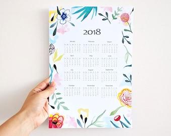 2018 Calendar, 2018 wall calendar, calendar 2018, floral calendar 2018, new year gift, 2018 botanical calendar, stationery 2018 CALENDAR