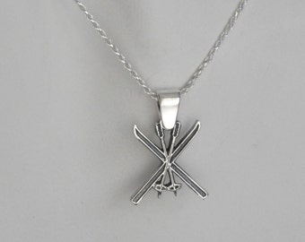 Sterling Silver Ski Pendant Skis and Poles Skier Jewelry Made In Montana Gift for Men Gift for Women Nordic Skis Necklace Gender Neutral