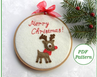 Christmas Redwork Ornament Set Hand Embroidery by countrygarden