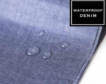 LAMINATE WATERPROOF DENIM Fabric, by Yard, Blue jean fabric