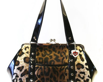 Leopard Handbag with Your Choice of Vinyl Trim, Rockabilly, Pin Up, Psychobilly, Cheetah- MADE TO ORDER