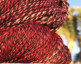 Hand Spun Yarn - Alpaca and BFL Wool - Black Pink and Red