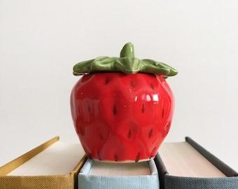 Vintage Strawberry Jar - Small Ceramic Jam or Sugar Jar - Strawberry Trinket Box - Strawberry Kitchen