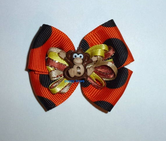 Puppy Bows ~Boys lil monkey butt bow orange brown bands or barrette   (fb85)
