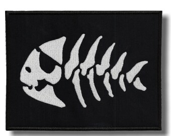 Fish skeleton - embroidered patch, 8x6 cm