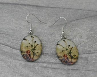 Fairy Dangle Earrings, Pink Flower Faerie