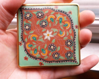 Genuine Art Deco Old French enamel cosmetics compact 1920's