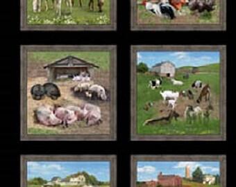 Farm Animals Panel Black/ Quilters Cotton/ Novelty Cotton Print/ Elizabeth's Studio Prints/ EL557-BLACK