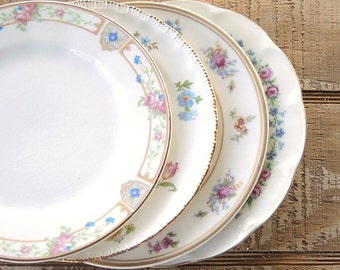 Vintage Mismatched Plates Set of 4, Shabby Cottage Tea Party, French Country, Side Plates, Wedding Bridal, Replacement China