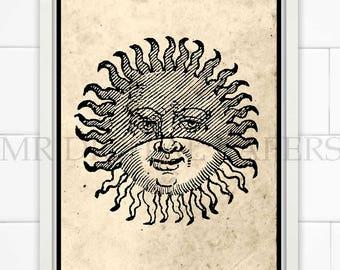 Antique Sun Print / Sun Art / Sun Engraving / Sun Wall Art / Digital Instant Download / Sun Decor / Sun Poster / Astronomy Art Print