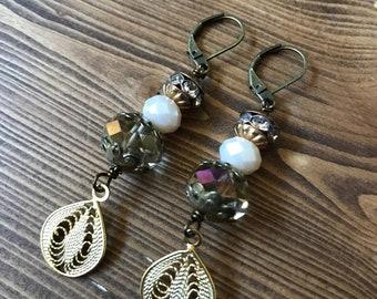 Stack Vintage Bead Rhinestone Gold Filigree Pierced Earrings