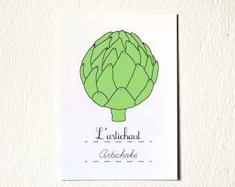 Artichoke French Modern kitchen art print 5x7 green vegan vegetarian