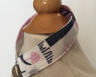 custom pacifier clip/toy strap ~ pink/navy woodland animals ~ universal fit~chic couture~baby accessories ~ custom from lillybelle designs