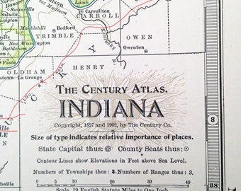 1902 Century Atlas Map Number 19 of Indiana