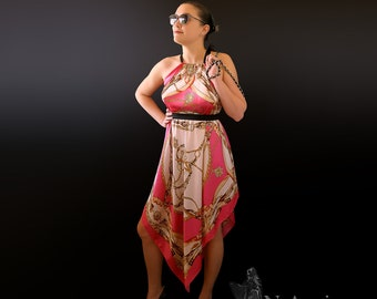 Silk Colorful Airy Light Pink Fucsia Gold Black Dress