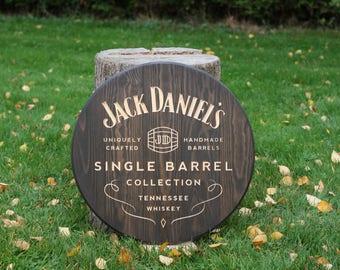 Panel vintage JACK DANIEL's Single Barrel Collection, solid wood engraved S