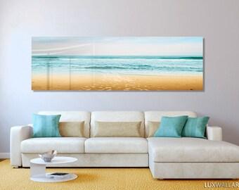 Turquoise Beach Ocean Panoramic Modern Contemporary HD Metal Wall Art