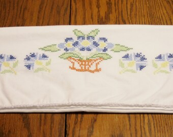 Embroidered Pillowcase - Counted Cross Stitch Pillowcases in Floral and Basket Pattern