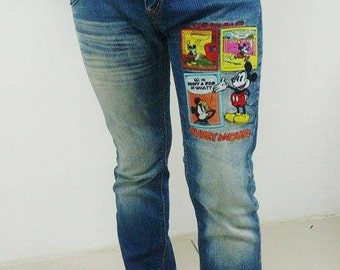 Vintage 90s Disney MICKEY MOUSE JEANS Denim Rare