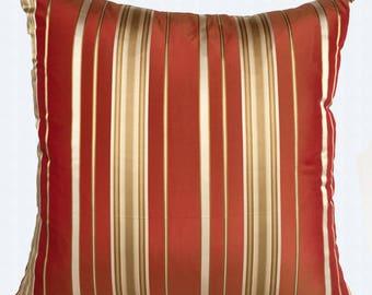 Burnt orange and gold pillow. Orange decorative pillow dark orange Dupioni silk pillow. Striped throw pillow cover custom made