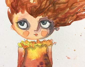 Me and my thoughts original whimsical watercolor painting