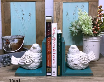 Birds Figurines Set of Bookends//Bird Book Ends//Available in a Variety of Colors//French Country Decor//Farmhouse Decor//Shabby Chic