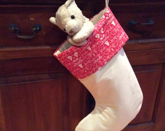Red Festive Bell Christmas Stockings, Quality Padded and Lined, 55cm Long