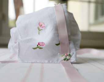 Baby Bonnet with Pink Accents