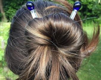 Blue Glass Hair Sticks