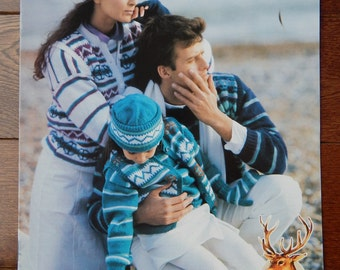 """Sweater Knitting Patterns w/ Vest ,Hats, Mittens & Gloves/ Hayfield's The Family Collection/ Child - Adult Chest 26- 30- 34- 38- 40- 44- 46"""""""