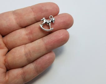Silver Rocking Horse Charms, 6 Rocking Horse Charms, 3D Rocking Horse Charms, Little Rocking Horse Charms