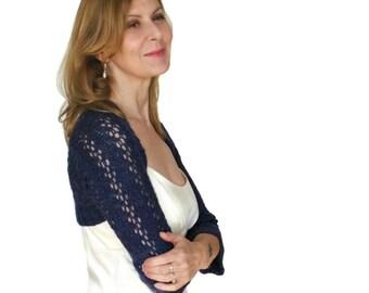 Dentelle boléro Shrug mariée Lys bleu saphir Cover Up manches longues à la main tricot laine péruvienne demoiselle d'honneur S de demoiselle d'honneur de mariage