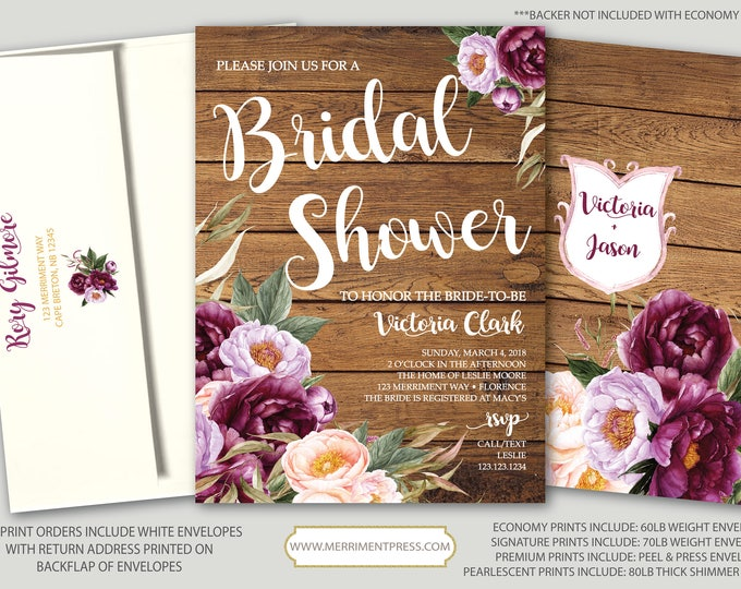 Burgundy Floral Bridal Shower Invitation / Rustic Wood / Wedding Shower / Watercolor / Purple / Pink / Flowers / Wine / FLORENCE COLLECTION