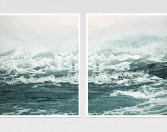 Ocean Wall art set of 2 prints Sea waves Ocean art set of two Large wall art Teal bathroom decor Large Seascape art photography 11x14 16x20