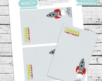 Retro Rockets & Robots Outer Space Thank You Notes - INSTANT DOWNLOAD