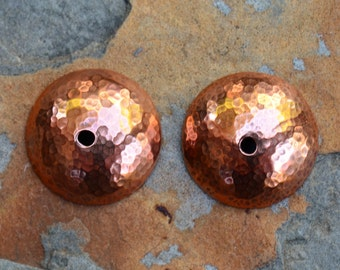Hammered Solid Copper Bead Caps, 17mm Fine Hammered Caps,