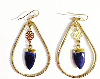 Blue Lapis Lazuli Hoops