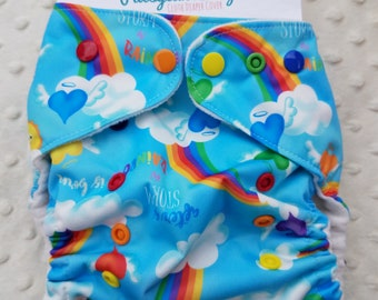 One Size, cloth diaper cover, fleece lined PUL with AI2 option, rainbow after the storm