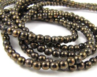 Jet Bronze Picasso 4mm Smooth Round Czech Glass Beads 100pc #1834