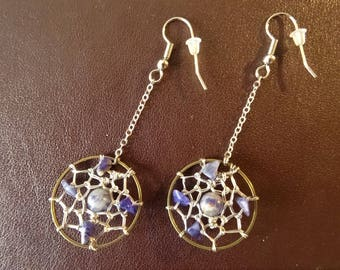 dream catcher, sodalite earrings