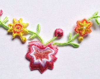 Embroidered Iron-On Applique Flowal, 2+1/4 x 1+1/2 inch