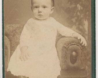 CDV Photo From The 1800s of Mohawk Baby in Boots Columbia Pa.//Antique Portrait//19th Century Photo of Child