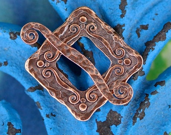 1 set Large Decorative Square Toggle Clasp - Antiqued Copper Clasp - cast 20mm Clasp (M-4)-C