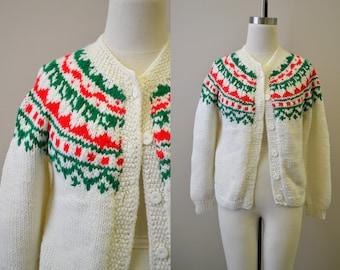 1960s Fairisle Hand Knit Cardigan Sweater